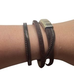 Leather Multi Strap Bracelet Black And Brown